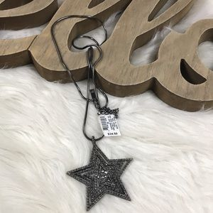 INC Multi Star Pendant Necklace Black Metallic